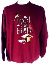 Feed The Birds Sweatshirt L JerZees Unisex Cotton Blend Dark Red New - $28.53