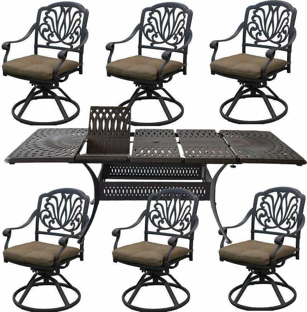 Cast Aluminum 7 Piece Outdoor Patio Dining Set Extendable Table 48 x 132.