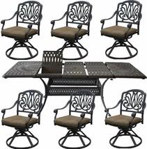 Cast Aluminum 7 Piece Outdoor Patio Dining Set Extendable Table 48 x 132. image 1