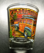 Calfornia Shot Glass Colorful Wood Paneled Van with Surfboards under Pal... - $6.99
