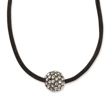 "Clear Glass Stones Fireball 16"" + 3"" Ext Black Plated Necklace 1928 Bout... - $21.01"