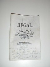 Regal Bread Machine Manual & Recipes K6725 (BMPF) - $12.19