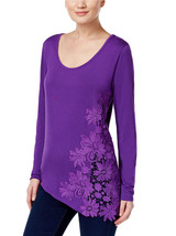INC INTERNATIONAL CONCEPTS Size L Crocheted Asymmetrical Top PURPLE - $29.67