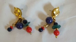 """2""""VINTAGE Geometric Primary Colors Simple Artsy Post Stud Earrings,Unsigned,Gold - $4.94"""