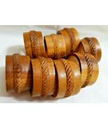 Wood Wooden Napkin Holder Rings Dinning Table Decor Set of 8 Brown - $19.99