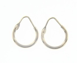 18K WHITE GOLD ROUND CIRCLE EARRINGS DIAMETER 10 MM WIDTH 1.7 MM, MADE IN ITALY image 1