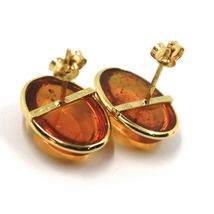 18K YELLOW GOLD EARRINGS, CABOCHON CENTRAL OVAL AMBER 16x13 mm, MADE IN ITALY image 3