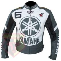YAMAHA 6 GREY MOTORCYCLE MOTORBIKE BIKERS ARMOURED COWHIDE LEATHER JACKET - $194.99