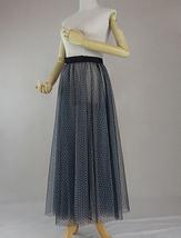 Black Polka Dot Tulle Skirt High Waisted Black Tulle Midi Skirt Outfit image 4