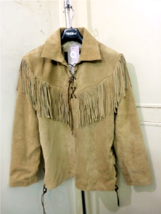 Men's New Native American Buckskin Tan Suede Leather Mountain Man Shirt ... - $98.01+