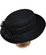 Vintage Bollman Hat Company USA Doeskin Felt Black Wool Rhinestone Brett... - $79.99