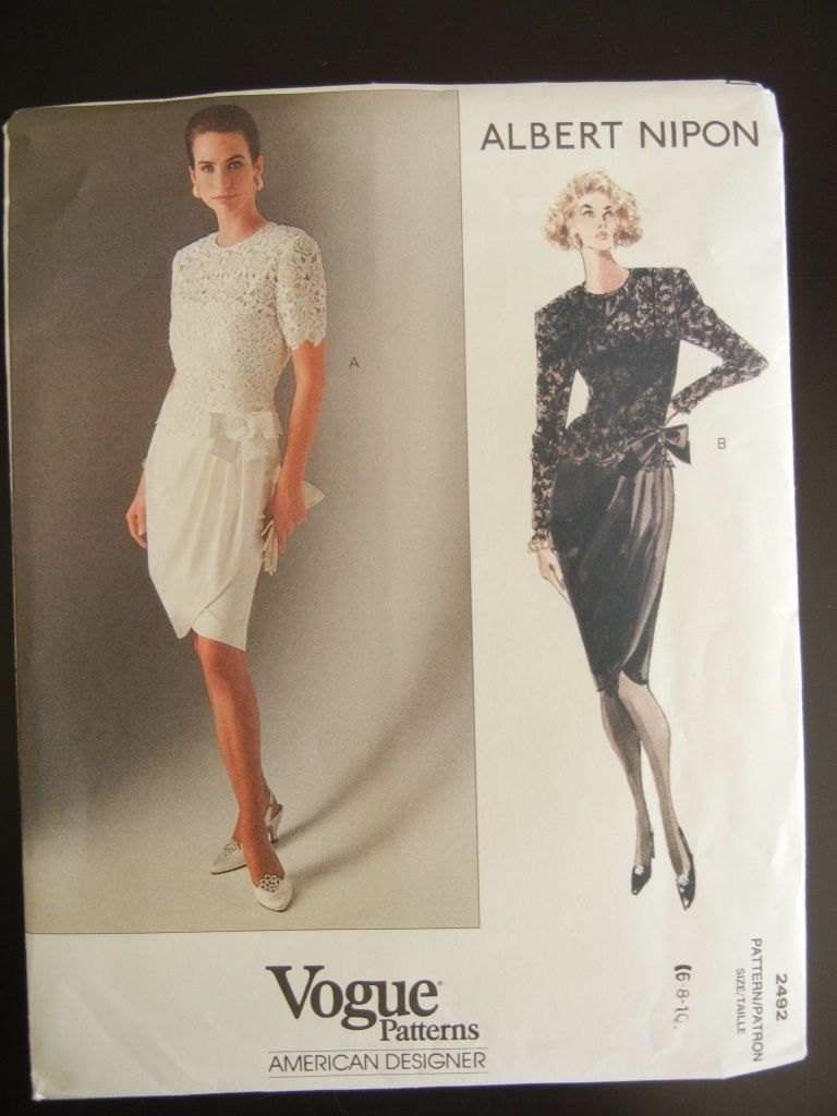 Vogue 2492  Vintage 90's  Dress by American Designer Albert Nipon Size 6-8-10