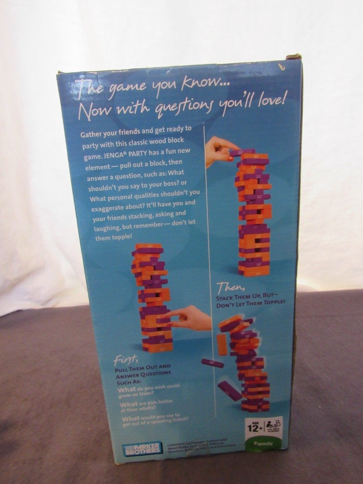 New Jenga Party Wood Blocks 54 Questions Printed on Blocks 2008 NOS