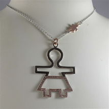 925 SILVER, AQUAFORTE NECKLACE, RHODIUM SILVER, ROSE PLATED BABY CHARM, ZIRCONIA image 4
