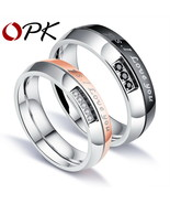 Romantic I Wedding Ring Lovers Pave Cubic Zirconia Rose Gold Color Steel... - $12.04