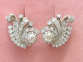 VINTAGE 3ctw OLD MINE DIAMOND PLATINUM HUGGIE COCKTAIL STATEMENT EARRING... - €4.072,92 EUR