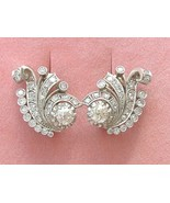 VINTAGE 3ctw OLD MINE DIAMOND PLATINUM HUGGIE COCKTAIL STATEMENT EARRING... - €4.151,15 EUR
