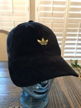 Adidas Originals Black and Gold Trefoil Relaxed Strap Back Dad Hat OSFA ... - $29.70