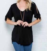Cold Shoulder Top, Knotted Short Sleeves V Neck, Plus Size Tunics, Black image 2