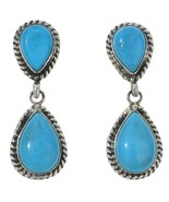 Navajo Blue Turquoise Post Style Dangle Earrings Native American Garriso... - $129.00