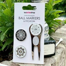 Surprizeshop Glitter Divot Tool and 3 Hand Enameled Golf Ball Markers Pi... - $15.27