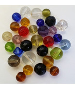 31 glass beads lot faceted cats eye round beads assorted mixed lot beadi... - $2.50