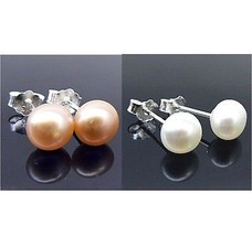 2 pc LOT Pink & White Freshwater Pearl Sterling Silver Earrings - $20.94