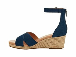 UGG Eugenia Navy Women's Suede Ankle Strap Wedge Sandals 1118460 - $96.00