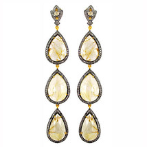 Rutile Quartz Gemstone Dangle Earrings 925 Silver Pave 3.53 Ct Diamond 1... - $1,474.00
