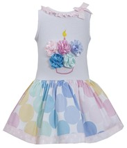 Bonnie Jean Little Girl 4-6X Multicolor Bias Dot Print Birthday Cupcake Dress