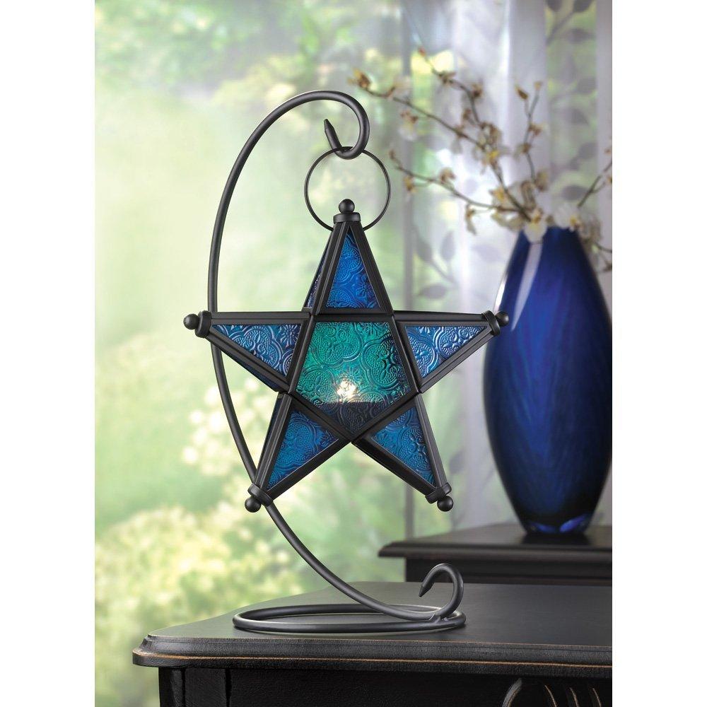 Glass Lantern Decor, Blue Large Light Candle Lantern Glass Table Outdoor