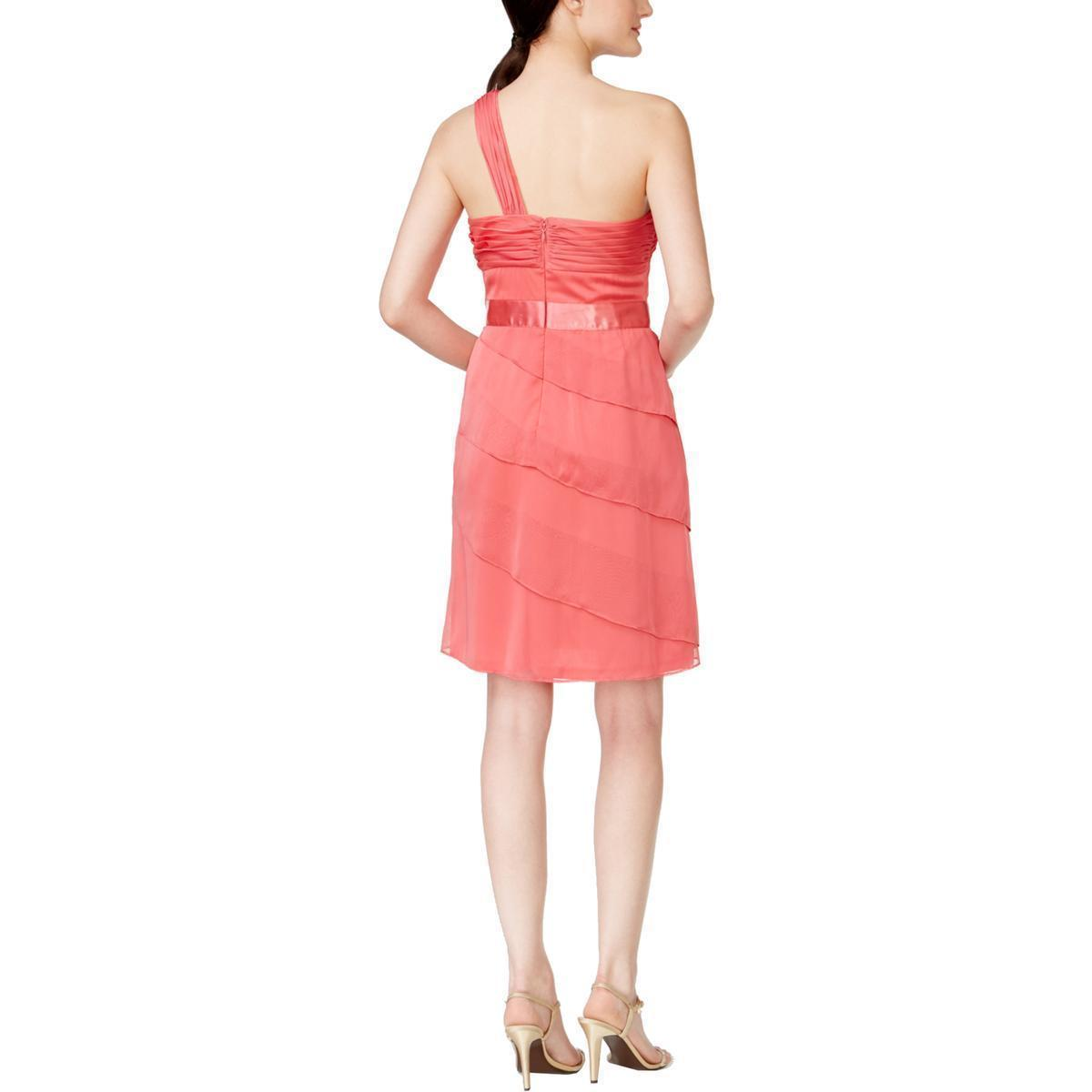 Adrianna Papell Women's Tiered One Shoulder Cocktail Dress Coral $149 Size 16M