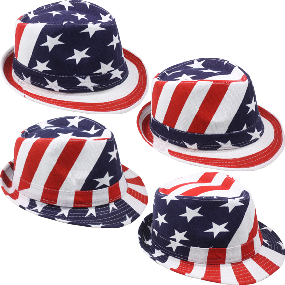 USA American Flag FEDORA HAT Trilby Jazz Stylish Patriotic 4th of July Accessory