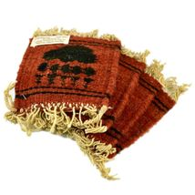 Handmade Zapotec Indian Weaving Hand-Woven Bear Claw Red Wool Coaster Set of 4 image 4