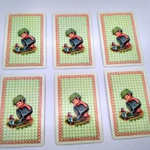 6 Elf Watering Garden Playing Cards for Crafting, Re-purpose, Up-cycle, Vintage  image 1