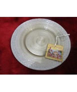 TURKISH DELIGHTS GOLD SILVER SPARKLE SALAD GLASS PLATES SET/2 - $29.99