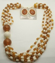 "Fashion Jewelry 6 Strand Amber & Cream Bead 22"" Necklace & Pierced Earri... - $23.74"