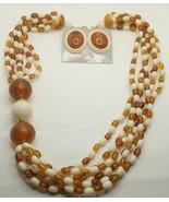 "Fashion Jewelry 6 Strand Amber & Cream Bead 22"" Necklace & Pierced Earri... - $23.74"