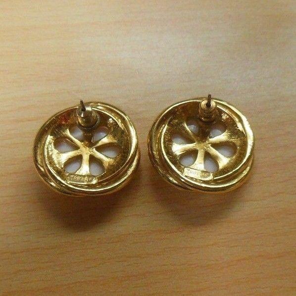 Signed Crown Trifari Gold Tone White Cabochon Pierced Earrings