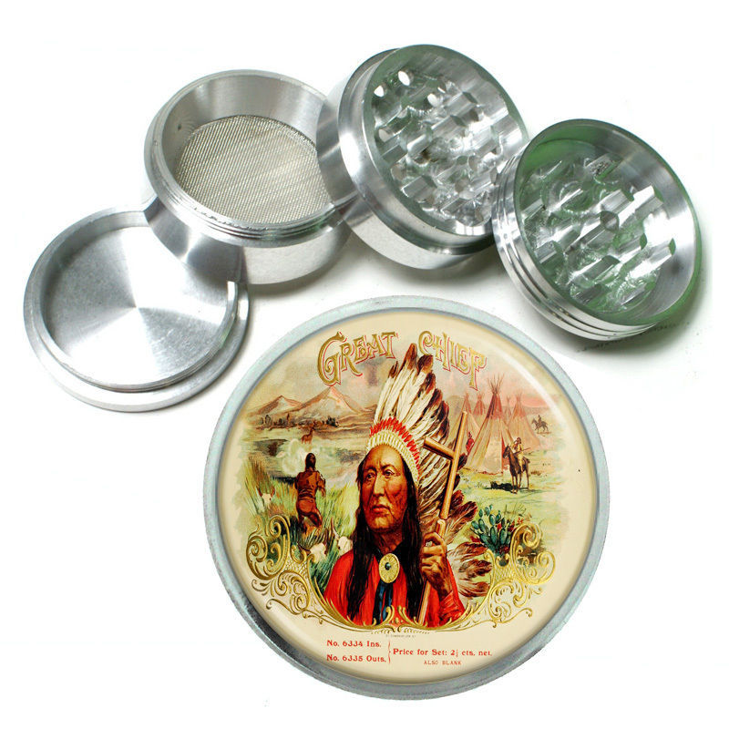 "Primary image for Vintage Poster D165 Aluminum Herb Grinder 2.5"" 63mm 4 Piece Great Chief Cigars"
