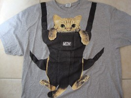 Cat Cute Bag Funny Gray Cotton T Shirt Size 2XL - $21.87