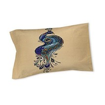Beige Teal Blue Peacock Pattern Pillow King Size Exotic Bird Themed Colo... - $74.99