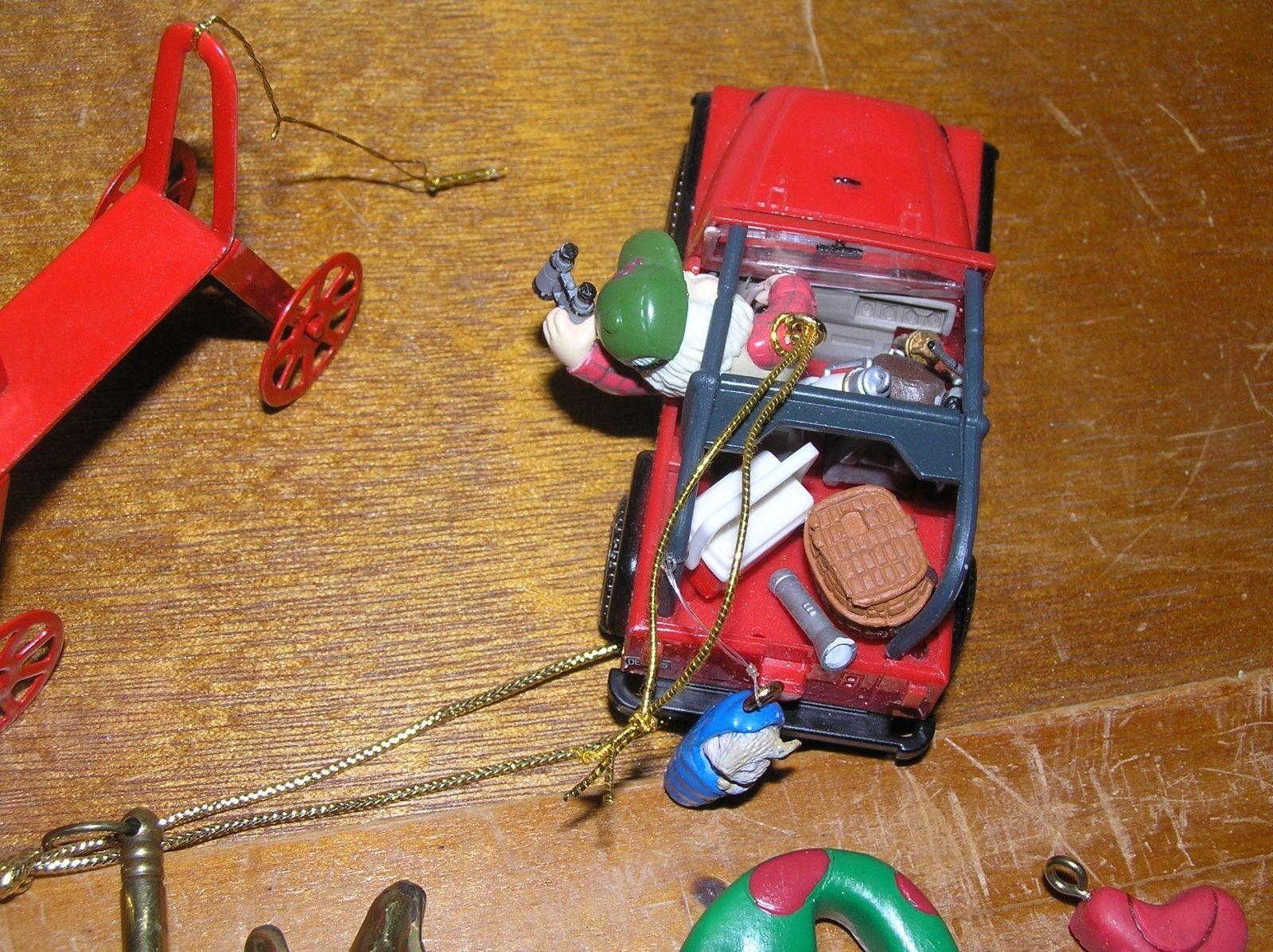 Estate Lot of 5 Brass Carousel Reindeer Red Polka Dot Metal Bow SANTA CLAUS in