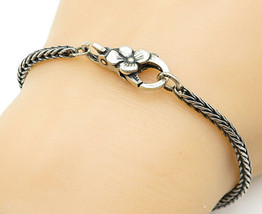 LAA 925 Sterling Silver - Vintage Flower Detail Wheat Link Chain Bracele... - $33.27