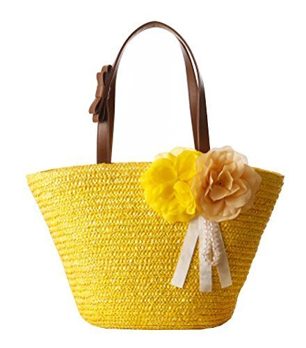 Fashion Vacation Item/ Artificial Flower Straw Hand Bag/ Beach Bag/Yellow