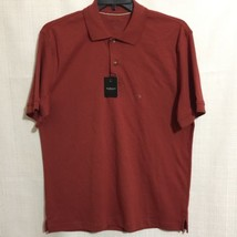 New Vanheusen Mens Cotton Polo Shirt Sz L Burgandy Soft Cotton - $19.79
