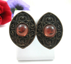 DAUPLAISE CopperTone ROSE Cab Eye Clip On EARRINGS Vintage Designer Sign... - $14.99