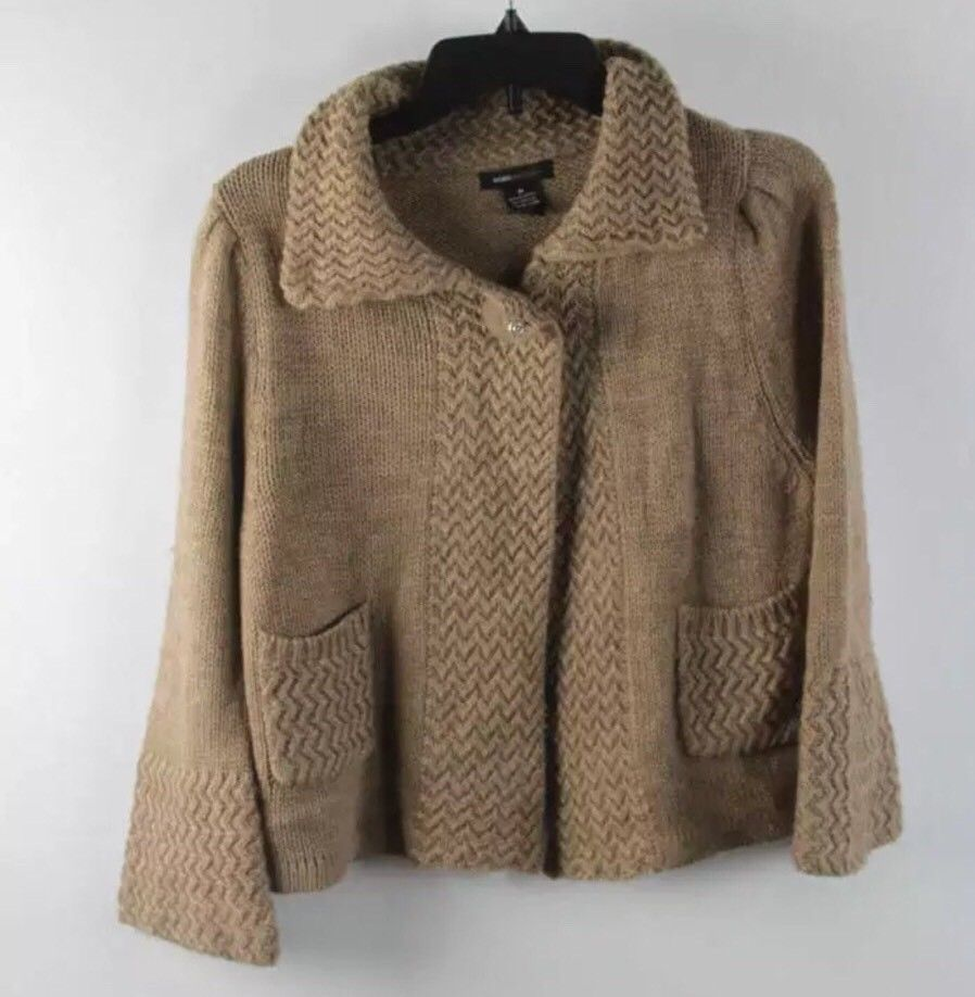BCBGMaxazria Peanut Brown Waffle Knit One-Button Cardigan Sweater M