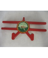 Wooden Bi Plane Airplane Novelty Clock Red Battery Operated  - $28.70