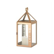 Rose Gold Stainless Steel Sleek Candle Lantern w/ Loving Etched on Side - $28.08